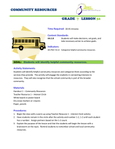 COMMUNITY RESOURCES GRADE LESSON