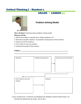 Problem-Solving Model  Critical Thinking I  - Handout 1 GRADE