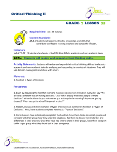 Critical Thinking II GRADE LESSON