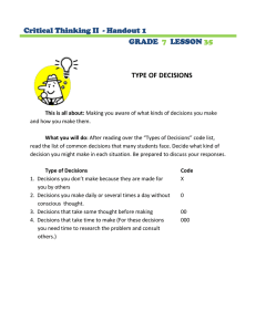 TYPE OF DECISIONS Critical Thinking II  - Handout 1 GRADE