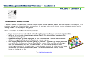 Time Management: Monthly Calendar – Handout  2 GRADE LESSON