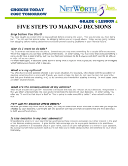 FIVE STEPS TO MAKING DECSIONS CHOICES TODAY COST TOMORROW GRADE