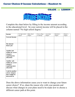 Career Choices & Income Calculations – Handout #2 GRADE LESSON