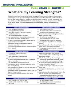 What are my Learning Strengths?  MULTIPLE  INTELLIGENCE GRADE