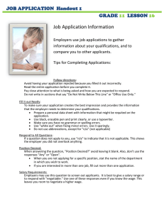 Job Application Information  JOB APPLICATION  Handout 1 GRADE