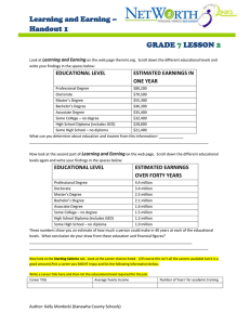 Learning and Earning – Handout 1 GRADE LESSON