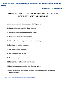 THINGS THAT CAN BE DONE TO DECREASE YOUR FINANCIAL STRESS