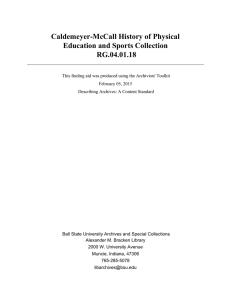Caldemeyer-McCall History of Physical Education and Sports Collection RG.04.01.18