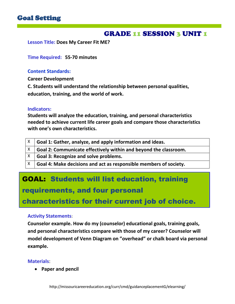 goal setting grade 11 session 3 unit 1 lesson title: does my career fit me?  time required: 55-70 minutes content standards: career development c   students
