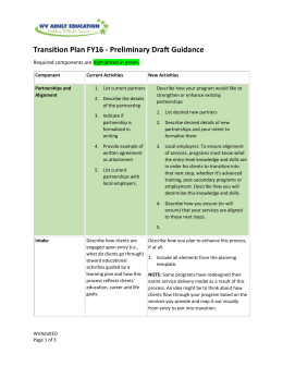 Transition Plan FY16 - Preliminary Draft Guidance
