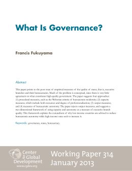 What Is Governance? Francis Fukuyama Abstract