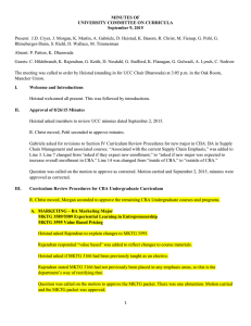 MINUTES OF UNIVERSITY COMMITTEE ON CURRICULA September 9, 2015