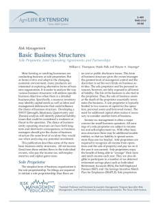 Basic Business Structures Sole Proprietor, Joint Operating Agreements and Partnerships Risk Management