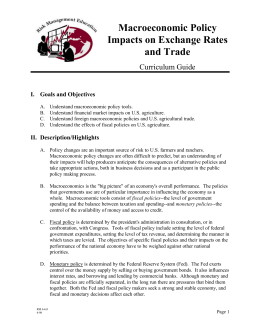 Macroeconomic Policy Impacts on Exchange Rates and Trade Curriculum Guide