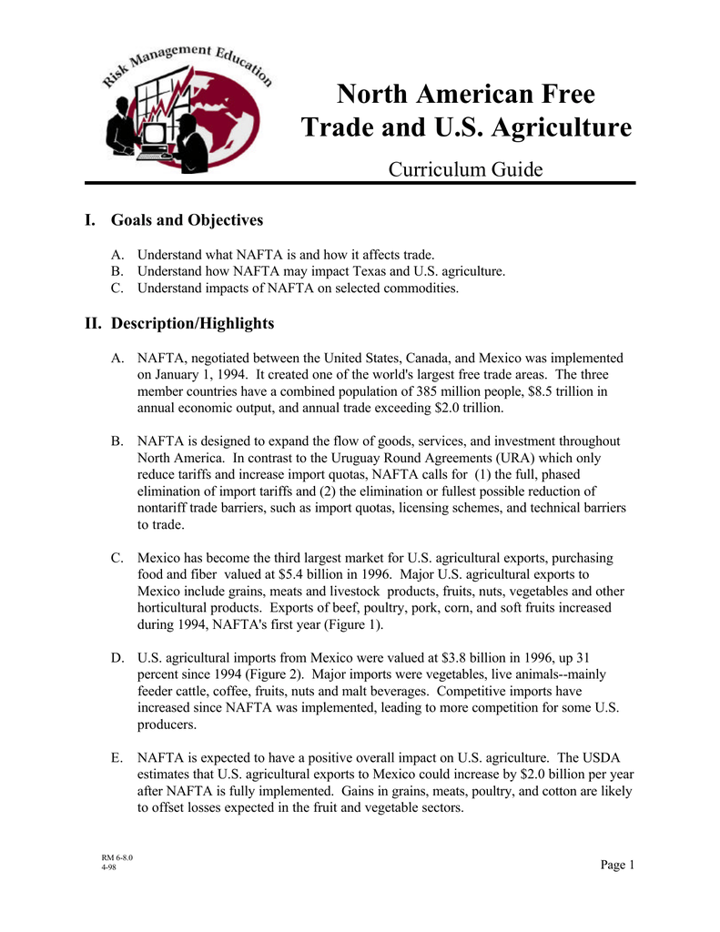 North American Free Trade and U S  Agriculture Curriculum