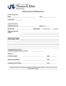 Field Practicum Enrollment Form  Student Information Course Information