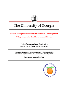 The University of Georgia Center for Agribusiness and Economic Development