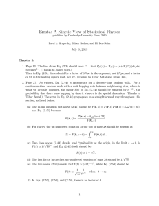 Errata: A Kinetic View of Statistical Physics July 8, 2013