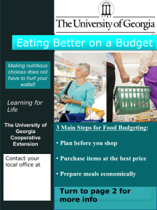 Eating Better on a Budget Turn to page 2 for more info