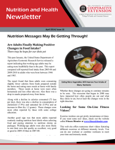 Newsletter Nutrition and Health Nutrition Messages May Be Getting Through!