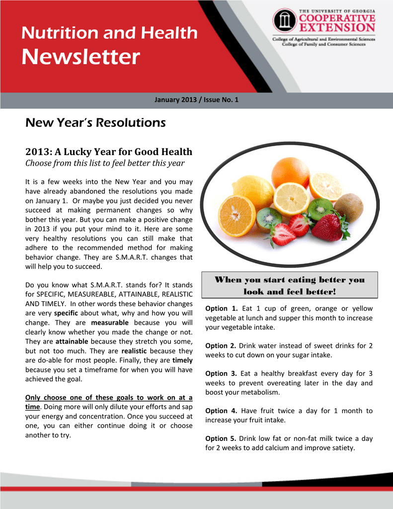 Newsletter Nutrition And Health New Year S Resolutions