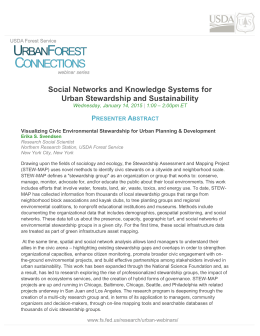Social Networks and Knowledge Systems for Urban Stewardship and Sustainability P
