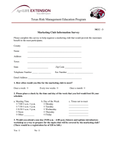Texas Risk Management Education Program  Marketing Club Information Survey