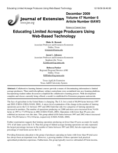 Educating Limited Acreage Producers Using Web-Based Technology December 2009 Volume 47 Number 6
