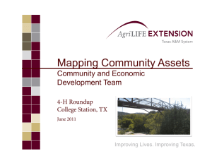 Mapping Community Assets Community and Economic Development Team 4-H Roundup