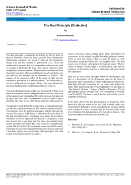 The Dual Principle (Dialectics) Science Journal of Physics Published By ISSN: 2276-6367