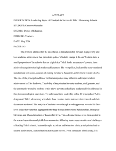 ABSTRACT DISSERTATION: Leadership Styles of Principals in Successful Title I Elementary... STUDENT: Cameron Gonzales