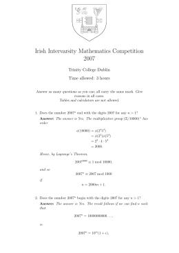 Irish Intervarsity Mathematics Competition 2007 Trinity College Dublin Time allowed: 3 hours