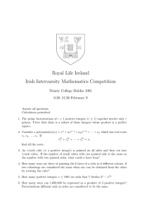 Royal Life Ireland Irish Intervarsity Mathematics Competition Trinity College Dublin 1991
