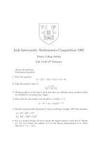 Irish Intervarsity Mathematics Competition 1992 Trinity College Dublin 9.30–12.30 15 February