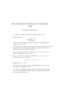 Irish Intervarsity Mathematics Competition 1999 University College Cork