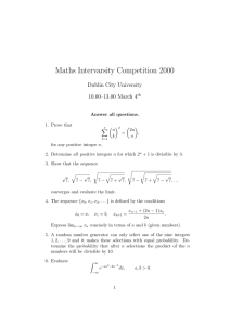 Maths Intervarsity Competition 2000 Dublin City University 10.00–13.00 March 4