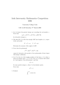 Irish Intervarsity Mathematics Competition 2006 University College Cork 9.30–12.30 Saturday 4