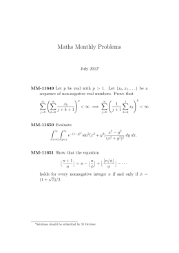 Maths Monthly Problems