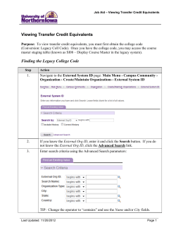 Viewing Transfer Credit Equivalents