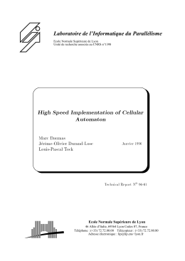 High Speed Implementation of Cellular Automaton Marc Daumas Jer^ome-Olivier Durand-Lose