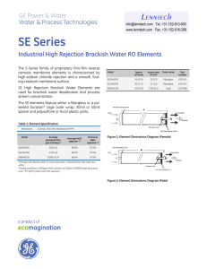 SE Series Lenntech Industrial High Rejection Brackish Water RO Elements Tel. +31-152-610-900