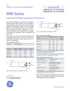 MW Series Industrial Oil/Water Separation UF Elements Fact Sheet