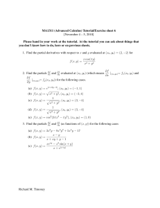 MA1311 (Advanced Calculus) Tutorial/Exercise sheet 6 [November 4 – 5, 2010]