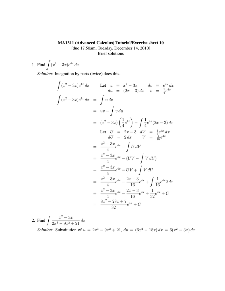 MA1311 (Advanced Calculus) Tutorial/Exercise sheet 10 Brief solutions