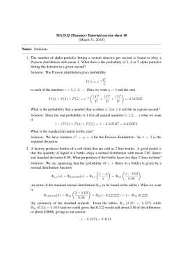 MA1S12 (Timoney) Tutorial/exercise sheet 10 [March 31, 2014] Name: Solutions