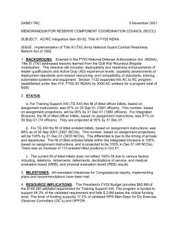 DAMO-TRC  5 November 2001 MEMORANDUM FOR RESERVE COMPONENT COORDINATION COUNCIL (RCCC)