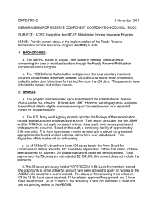 DAPE-PRR-C 8 November 2001  MEMORANDUM FOR RESERVE COMPONENT COORDINATION COUNCIL (RCCC)