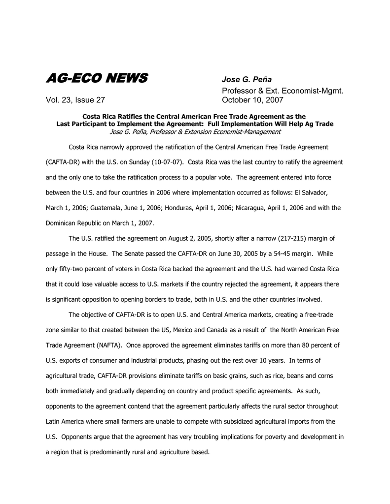 Ag Eco News Jose G Pea Professor Ext Economist Mgmt Vol 23