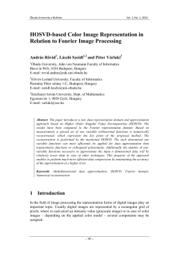 HOSVD-based Color Image Representation in Relation to Fourier Image Processing András Rövid