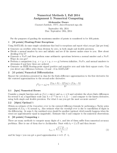 Numerical Methods I, Fall 2014 Assignment I: Numerical Computing